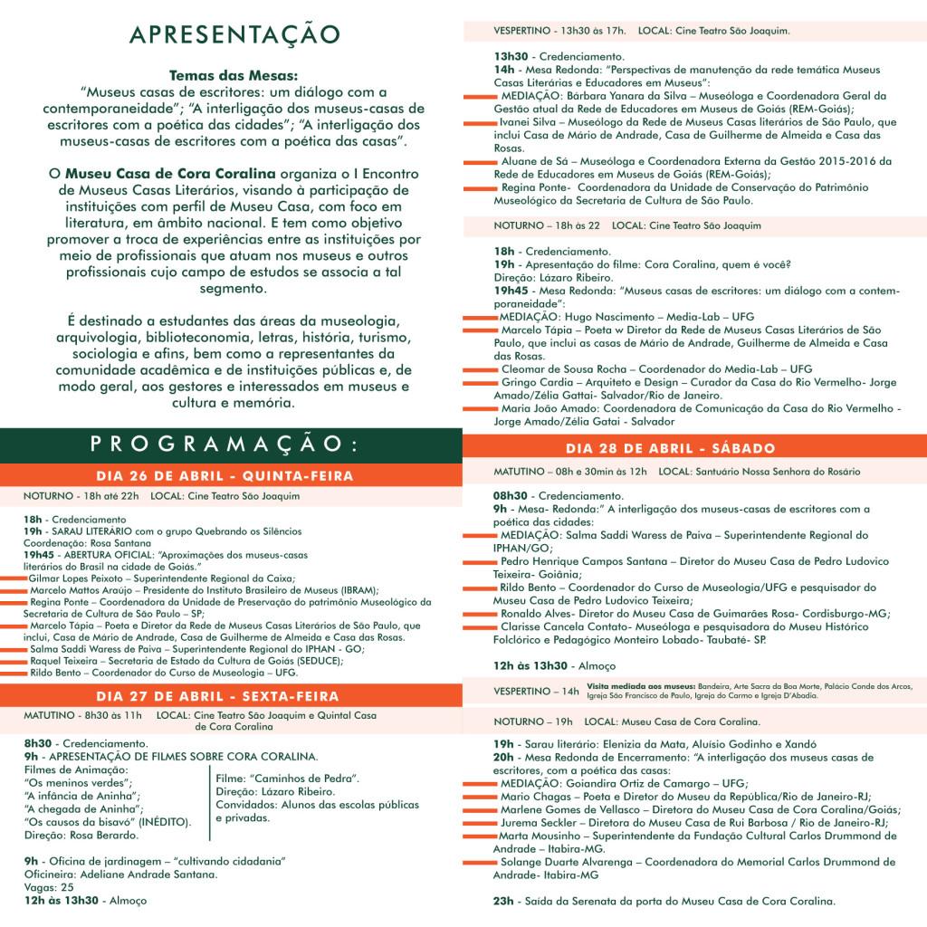 PROGRAMACAO - I ENCONTRO MUSEUS CASAS